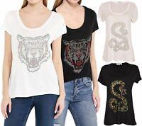 Ladies Brave Soul T Shirt Cap Sleeved Hotfix Stud Design Print Womens Summer Top