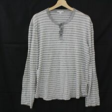 JAMES PERSE Mens Long Sleeve Henley Shirt size 3 LARGE Striped