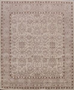 Traditional Floral Oriental Area Rug Hand-Tufted Wool Ivory Carpet 10x10 Square