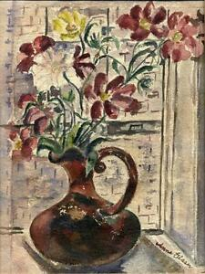Early 20th C Watercolor Pitcher Flowers in Window Still Life Signed Anna Glaser