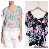 Yumi Kim Women's Cheryl 100% Silk Blouse Size Medium In Black Floral Print