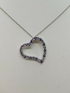 14K White Gold Amethyst and Tanzanite Heart Pendant Necklace - Lord & Taylor