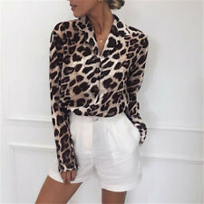 Women Leopard Print Long Sleeve Shirt Tops Ladies Loose Blouse Plus Size S-3XL