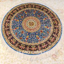 Yilong 4'x4' Blue Handmade Silk Area Rug Medallion Round Classic Carpet Z384A