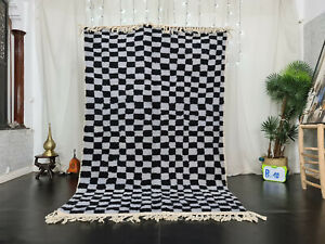 "Moroccan Handmade Beni Ourain Carpet 5'3""x8'5"" Berber Checkered White Black Rug"