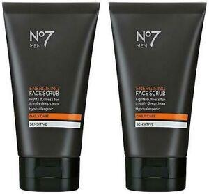 Lot of 2 No7 Men Energising Face Scrub for Sensitive Skin - 5oz. (150ml) - New!