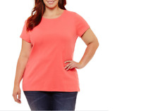 Women's Plus St. John's Bay Short Sleeve Crew Neck Tee Color: Coral Size:1X
