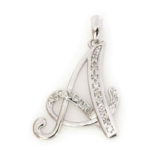 """0.1 ctw Natural Diamond Solid 18k White Gold Letter A Initial Drop Pendant ~1"""""""