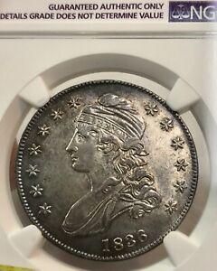 1836 Lettered Capped Bust Half Dollar 50C NGC AU Details Cleaned Nice details