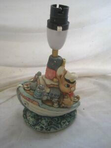 Stunning Charming LAMP Rabbit SLOOPY Hand Painted TINKERWARE Boat LIGHT