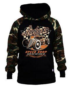 Men's Lucky 13 Speed Shop Camo/Black Raglan Hoodie classic Race Car Fastback