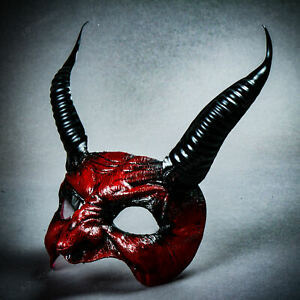 Red Goblin Devil Black Horn Party Eye Mask Cosplay Masquerade Costume Party Mask