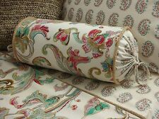 NEW Custom Ralph Lauren Antigua Floral Neckroll Pillow Neck Roll Jute Trim LONG
