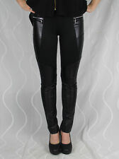 1391 Damen Treggings Jeans Schwarz Hochbund Skinny Slim Fit Leder Lack Denim