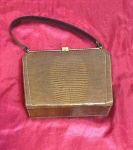 VTG Rockabilly 1965 to 1970 Real Reptile Leather Lt. Brown Hard Bottom Purse