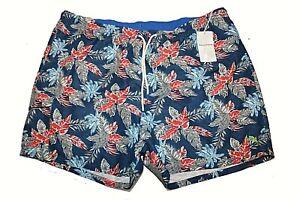 Mens TOMMY BAHAMA Dockside Blue Floral Naples Faded Palms Swim Trunks NWT Sz 4XL