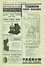 Vintage Advertisement Print Yarrow & Braithwaite & Pulsometer The Engineer 1937