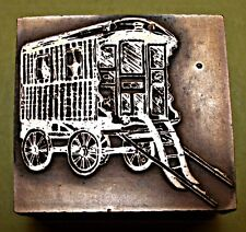"""OLD HORSE DRAWN GYPSY CARAVAN"" PRINTING BLOCK."
