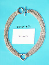 Tiffany & Co Sterling Silver 10 Ten Row Mesh Chain Heart Toggle Necklace 18 Inch