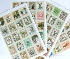 Alice In Wonderland Vintage Style Faux Postage Stamp Sticker Set 80 Stickers