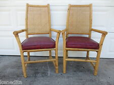 Pair Bamboo Arm Chairs Rattan 2 Dining Patio Side Hollywood Regency Tropical