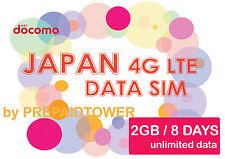 JAPAN DATA SIM UNLIMITED DATA 4G LTE 2GB 8 DAYS PREPAID SIM NO REG NTT DOCOMO