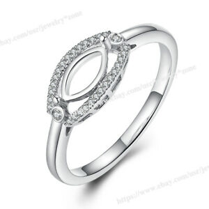 Wedding Brilliant SI Diamond 0.15ct Ring Solid 14k White Gold Marquise 10x5mm