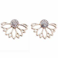 Lotus Crystal Jacket Flower Stud Earring For Women Fashion Jewellery, Gold
