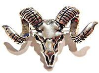 SILVER RAM SKULL BROOCH sheep Western metal pin Dodge fan mountain goat devil T1