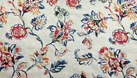 Sketched Flower Vine Floral Red Orange Green Blue Upholstery Fabric By The Yard