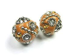 1 Kashmiri Perlen orange mit Strass #K023