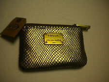FOSSIL zip coin purse HAPPY goldftone alligator look NWT