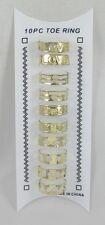 Brand New 10 Piece Set of Gold Tone Toe Rings (Stars,Love,Etc) #R1170G