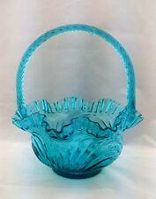 Fenton Caprice Pattern Teal Royale Color Glass Basket DAMAGE HAS CRACK 1980s