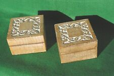 TWO HINGED WHITE WOOD BOXES WITH DECORATED LIDS IN LIME WASH FINISH