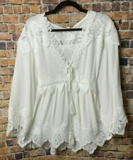 Women Babydoll Boho Peasant White Laced EMBROIDERED Top Tunic Blouse 1X 2X 3X