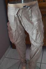 pantalones satén gris pardo HIGH USE talla 44 NUEVO CON ETIQUETAS