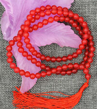 6mm Tibetan Buddhism 108 red ruby stone Prayer Bead Mala Necklace JN1432