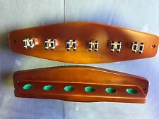 Teak Cue Rack with 6 Brass Cue Clips for Pool Snooker Billiard Free Post