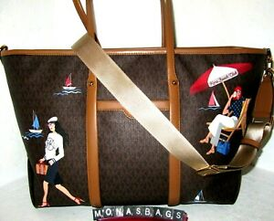Michael Kors Beck Large Brown Signature Carryall Tote Travel Bag NWT $328