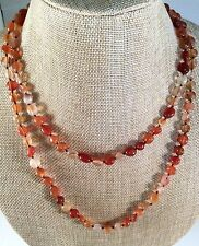 Individually Knotted Cabochon Carnelian Beads About 40 Inches Long Necklace.