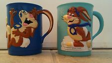 NESTLE QUIK Chocolate Milk Bunny  80s Collectible Cups Set of 2