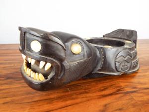 Antique Pacific North West Wooden Bone Tlingit Haida Grease Oil Bowl Bear Mask