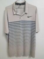 Men's Nike Golf Dri-Fit Short Sleeve Polo Shirt Grey Size 2XL XXL Standard Fit