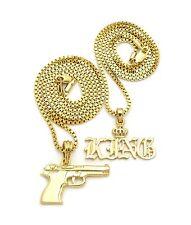"New Hip Hop Polished KING Word & Gun Pendant W/ 20"",24"" Box Chain 2 Necklace Set"