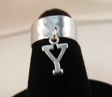 Ring With A Dangle Initial Y 14Kt White Gold Ep Hammered Toe