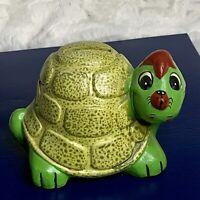 Vintage 70s Anthropomorphic Happy Turtle Bank ENESCO JAPAN Sticker with plug