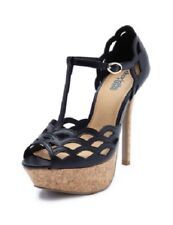 Black T-Strap Lace Scalloped Cut Out Open Peep Toe Sandal Platform Cork Heel 8