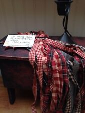 """50 Red and Black 1/2"""" x 18"""" Homespun Strips Plaid & Check GREAT 4 CRAFTS  LOTK7"""