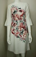 Laura Ashley White Pink Floral Scoop Neck 3/4 Sleeves Shift Dress 8 10 12 14 16
